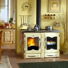 "Wood Burning Cook Stove La Nordica ""America Cream"" 34K BTUs Cooking Range"