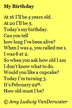A Leap Year Poem!  This poem is followed by a brief mini lesson/thought about writing from holidays, math, or riddles...from The Poem Farm, an ever-growing collection of poems, poem mini lessons, and poetry ideas - www.poemfarm.amylv.com