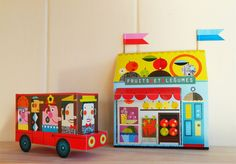 Bus DIY paper craft kit by Ellen Giggenbach on Etsy