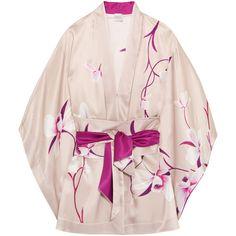 Carine Gilson Floral-print silk-satin kimono ($1,710) ❤ liked on Polyvore featuring intimates, robes, tops, blush, purple bathrobe, kimono robe, dressing gown, bath robes and pink kimono robe