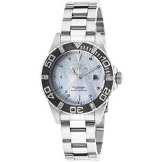 Invicta Pro Diver Diamonds Stainless Steel Platinum Mother of Pearl... (1.572.050 IDR) ❤ liked on Polyvore featuring jewelry, watches, silver, bracelet jewelry, bracelet watches, platinum jewelry, invicta wrist watch y platinum watches