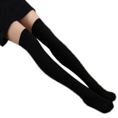 Tongshi 1 par de algodón de las mujeres de punto largo de la rodilla media espiral calcetines altos (negro)