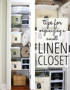 TipsforOrganizingaSmallLinenCloset thumb Tips for Organizing a Small Linen Closet - Love the idea of painting the fronts of the plastic drawers with chalkboard paint! Im definitely doing that!