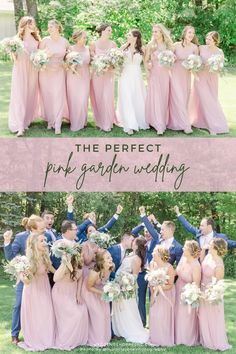 These pink bridesmaid dresses are so pretty! Wedding Shoppe Inc. offers a variety of bridesmaid dresses in various colors, sizes, and styles. Visit Wedding Shoppe Inc. to find the perfect dresses for your bridesmaids! | pink bridesmaid dresses | mismatched bridesmaids | fun flirty flattering bridesmaid dresses | wedding dress shopping | bridal party inspo | bridesmaid ideas for 2021 2022 weddings | Wedding Shoppe brides | outside wedding | spring garden wedding Flattering Bridesmaid Dresses, Blush Pink Bridesmaid Dresses, Blush Pink Wedding Dress, Pink Wedding Theme, Blush Pink Weddings, Wedding Dresses, Wedding Shoppe, Romantic Flowers, Outside Wedding