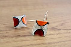 Fused glass earrings Red orange earrings Glass by BGLASSbcn