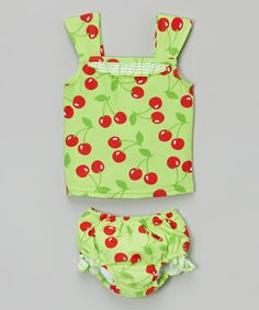 Look at this Lime Cherry Swim Diaper Tankini - Infant & Toddler on #zulily today!