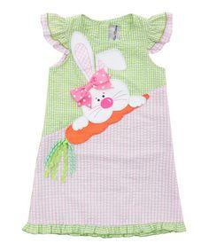 Loving this Pink & Lime Bunny Appliqué Seersucker Dress - Toddler & Girls on #zulily! #zulilyfinds