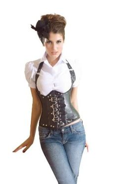 MUKA Burlesque Faux Leather Steel Boned Buckles Underbust Black Fashion Corset Top, Valentine's Gift,$25.99
