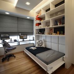 Murphy Bed Design, Pictures, Remodel, Decor and Ideas {Great Guest Room Design} Love the dark blinds and the padded back to the bed Small Rooms, Small Apartments, Small Spaces, Modern Spaces, Modern Homes, Dining Room Office, Guest Room Office, Bedroom Office, Home Office