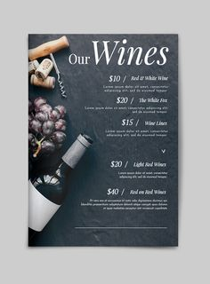 Add your wine in this classy wine menu template. Online menus are easy to use and customizable in minutes with Flipsnack. Drink Menu Design, Cafe Menu Design, Restaurant Menu Design, Restaurant Identity, Design Web, Graphic Design, Vino Color, Menu Bar, Wine Advertising