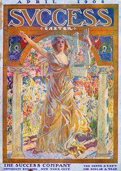 Success 1902-04 Magazine Cover Design, Magazine Art, Magazine Covers, American Illustration, Illustration Art, Art Nouveau Mucha, Leave Art, Success Magazine, Vogue Covers