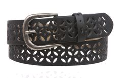 Women's Snap on Perforated Laser Cut Leather Belt