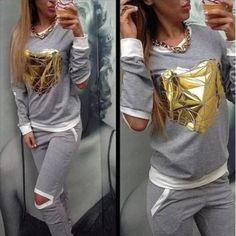 2 Pcs. Set Cut Out Golden Heart Sweatshirt+Pants