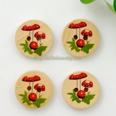 Wooden Buttons - Lovely Mushrooms (4 in a set)