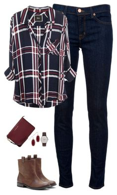"""Deep red & navy"" by steffiestaffie ❤ liked on Polyvore featuring J Brand, Sole Society, J.Crew, Kendra Scott, MICHAEL Michael Kors, women's clothing, women, female, woman and misses"