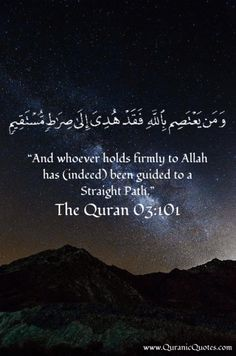 """#59 The Quran 03:101 (Surah al-Imran) """"And whoever holds firmly to Allah has (indeed) been guided to a Straight Path."""""""
