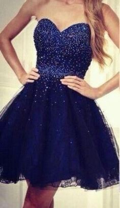 Navy Blue Short/Mini Tulle Graduation Dress
