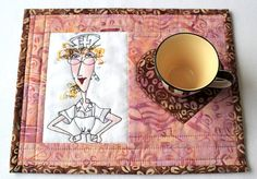 Nurse Mug Rug Quilted Mug Rug Coffee Snack by RedNeedleQuilts