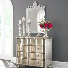 The Venetian Mirror, the stunning gray wall with the white trim and even the silver finish on the bureau. Venetian Glass, Venetian Mirrors, Mirrored Furniture, Glass Furniture, Luxury Furniture, Shabby, Glass Candlesticks, Traditional Furniture, Shop Interiors