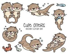 Bujo, Otters Cute, Cute Lamb, Blank Background, Directed Drawing, Kawaii, Social Icons, Vector Clipart, Vectors