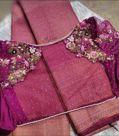 Zardosi Work Blouse, Pattu Saree Blouse Designs, Blouse Designs Silk, Designer Blouse Patterns, Bridal Blouse Designs, Simple Blouse Designs, Stylish Blouse Design, Embroidery Blouses, Embroidery Stitches