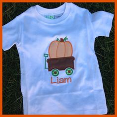 Smock Your Tot - Appliqued Pumpkin in Wagon Shirt or Onesie, $24.95 (http://www.smockyourtot.com/appliqued-pumpkin-in-wagon-shirt-or-onesie/)