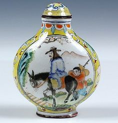 Enameled Copper Snuff Bottle with original lid, signed on underside, decorated with flowers on an Imperial Yellow ground, opposing vignettes of Confucius on horseback and fishing from a boat, with his attendant