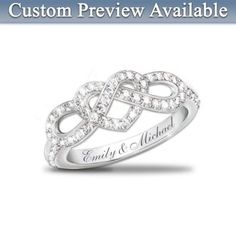 Personalized Engraved Lovers Knot Diamond Ring: Joined In Love