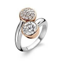 Ti Sento Rhodium Plated Sterling Silver Ring and Rose Gold Plating with Cubic Zirconia Stones-1840ZR