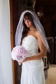 @Chelsea Isaacson Eliza  White Polka Dot Wedding Veil by LumiereBridalShop on Etsy, $75.00