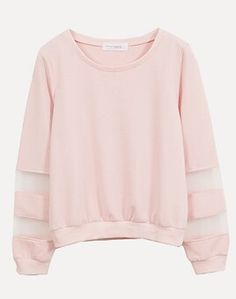 Pale pink sweater w/ sheer sections on arms