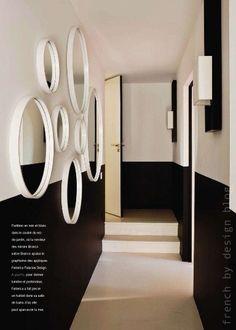 black half walls + door trim - black and white two tone walls Hallway Paint, Entry Hallway, Modern Hallway, Entryway Mirror, Long Hallway, Upstairs Hallway, Hallway Ideas, Foyer, Half Painted Walls