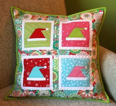quilted pillow -- easy instructions for 20x20 (slowly collecting my collage of xmas blocks)