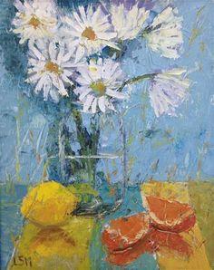 "Daily Paintworks - ""Daisies, Lemons and Oranges"" - Original Fine Art for Sale - © Linda Marino"