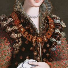 Alessandro Allori. Detail from Portrait of Camilla Martelli, 1570.