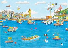 Porthleven Harbour, Cornwall - print available from Cornwall Art Galleries for £15 + P&P. Painted by the talented Nanette Martin in her quirky and slightly surreal style. #art #prints #Cornwall