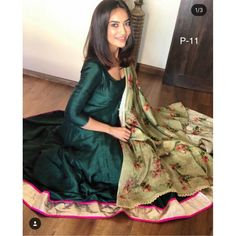 Dark green banglori silk plain anarkali suit - Fabirc : Banglori silk Gown ( Fully Stiched upto 42 + )Length : 57 + 'Duppta : muslin Georget with Digital printBottom : Santoon ( unstitched )Dark green banglori silk plain anarkali suit - Fabirc : Banglori Designer Anarkali Dresses, Designer Party Wear Dresses, Indian Designer Outfits, Designer Gowns, Patiala, Churidar, Salwar Kameez, Silk Kurti Designs, Kurti Designs Party Wear