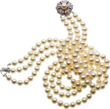 Estate Jewelry Pearls -  Ruby, Diamond, White Gold Necklace
