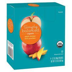 Organic Apple Mango Fruit Pouches 3.2oz 4 ct - Simply Balanced