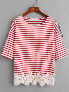 Red Striped Flower Applique Trim T-shirt