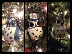 Recycled/ upcycled lightbulb owl ornaments. Handpainted