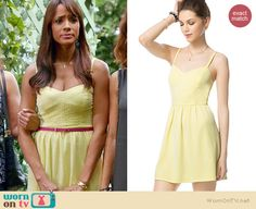 Rosie's yellow dot textured dress on Devious Maids.  Outfit Details: http://wornontv.net/34836/ #DeviousMaids