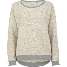 Cream textured contrast trim sweatshirt - sweaters / hoodies - t shirts / vests / sweats - women