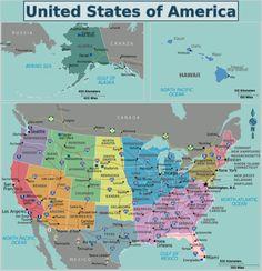 United States of America travel guide - Wikitravel Map Of America States, United States Travel, North America, New York, Montana, Gulf Of Alaska, Map Wallpaper, Rapid City, Us History