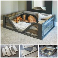 Here we have this simple yet purposeful pallet wood dog bed. This crate style pallet wood dog bed is rustic and spacious. You just have to add a comfy mattress for your doggy to have a sound sleep. Pallet Crafts, Diy Pallet Projects, Woodworking Projects, Pallet Ideas, Woodworking Plans, Woodworking Furniture, Diy Projects With Wood, Wood Crafts, Woodworking Beginner