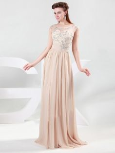 A-line/Princess Scoop Sleeveless Beading Floor-length Chiffon Dresses - Formal Dresses - Prom Diary