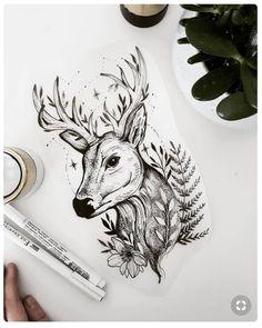 Floral fawn free tattoo design terryemi dibujos in 2019 free. Art Drawings Sketches, Animal Drawings, Tattoo Drawings, Body Art Tattoos, Cervo Tattoo, Hirsch Tattoo, Deer Tattoo, Fawn Tattoo, Deer Art