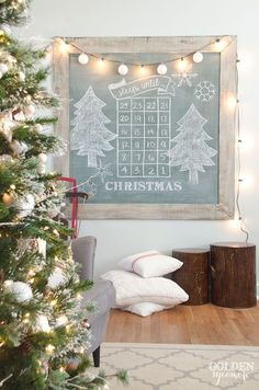 Cutest Christmas Chalkboard Sign - Christmas Home Tour 2016 - The Golden Sycamore