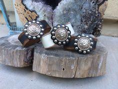 Leather cuff, concho www.ahavadesign.com