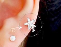 Flower hoop cartilage earring hoop earrings by ShopOrigamiJewels